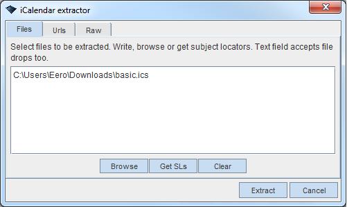 ICal calendar format extractor - WandoraWiki